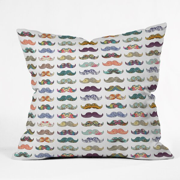 Bianca Green Mustache Mania Throw Pillow by Deny Designs
