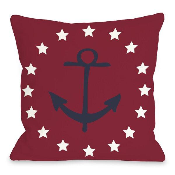 Anchor Circle Stars Throw Pillow by One Bella Casa
