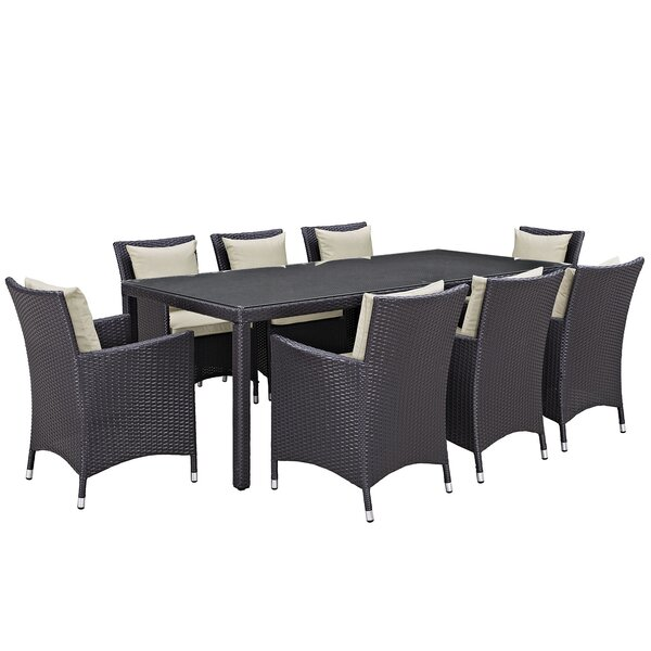 Brentwood Outdoor Patio 9 Piece Dining Set with Cushions by Sol 72 Outdoor