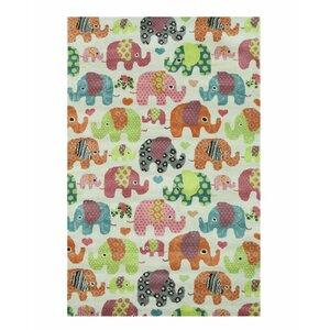 Kids Elephant Hand-Tufted Orange/Green Area Rug