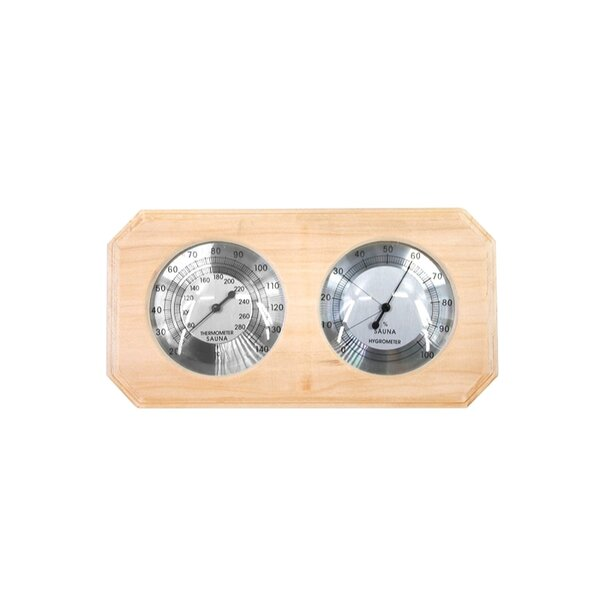 Wall Mounted Pine Wood Thermometer and Hygrometer by ALEKO