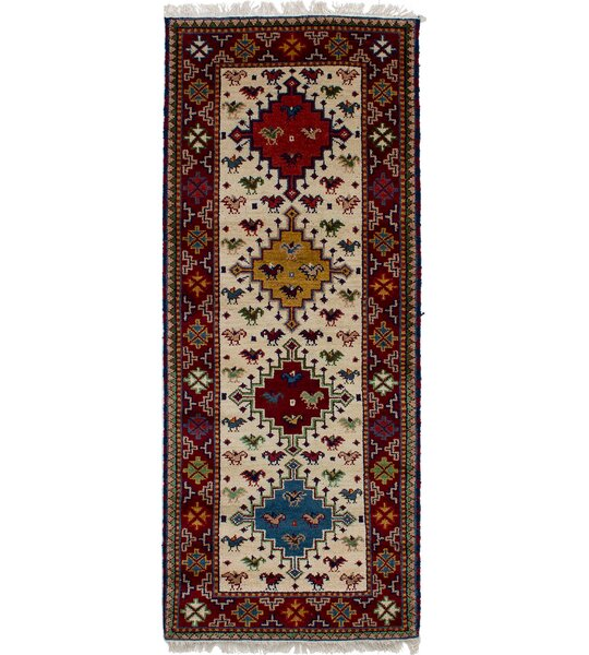 One-of-a-Kind Doering Hand-Knotted Wool Cream/Dark Red Area Rug by Isabelline