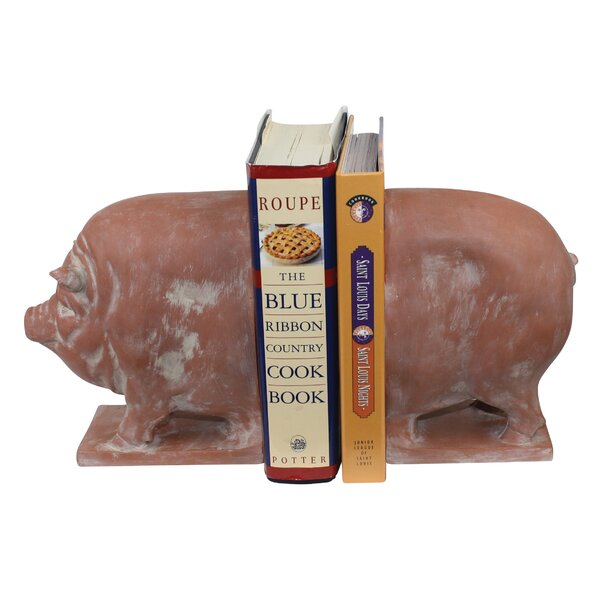 Antique Faux Terracotta Resin Pig Book End (Set of 2) by Expo Decor LLC