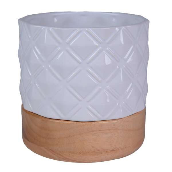 Embossed Geo Print Ceramic Pot Planter by Plum and Punch