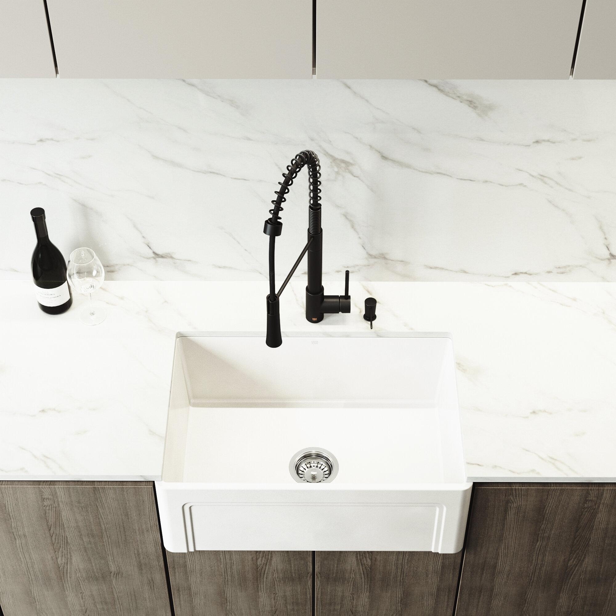 """Vigo Laurelton Pull Down Spray Kitchen Faucet In Matte Black casement 27"""" l x 18"""" w farmhouse kitchen sink with faucet"""