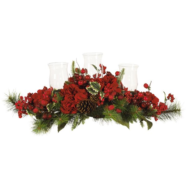Red hydrangea candle holder festive centerpiece for dining table
