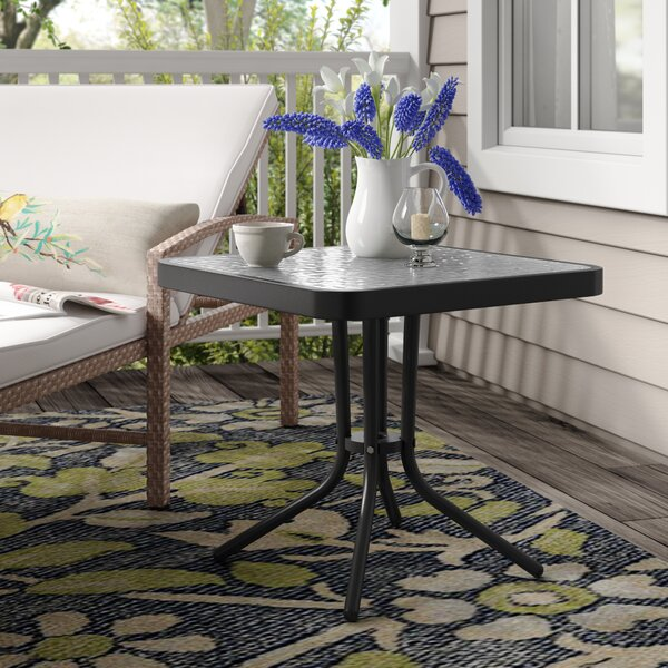 Basile Glass Side Table by August Grove