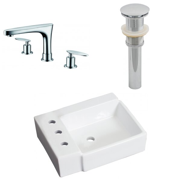 Ceramic Rectangular Bathroom Sink with Faucet by American Imaginations
