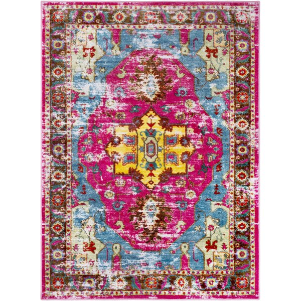 Wyclif Bright Pink/Aqua Area Rug by Bungalow Rose