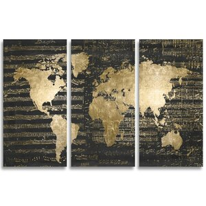 Mapamundi Musicale Night Triptych Graphic Art on Wrapped Canvas by Mercer41