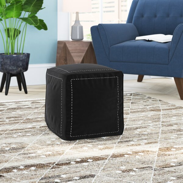 Mouassine Leather Pouf by Bungalow Rose