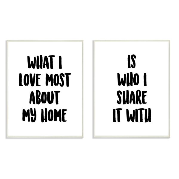 Sharing Home Together Typography 2pc Wall Plaque Art Set by Stupell Industries