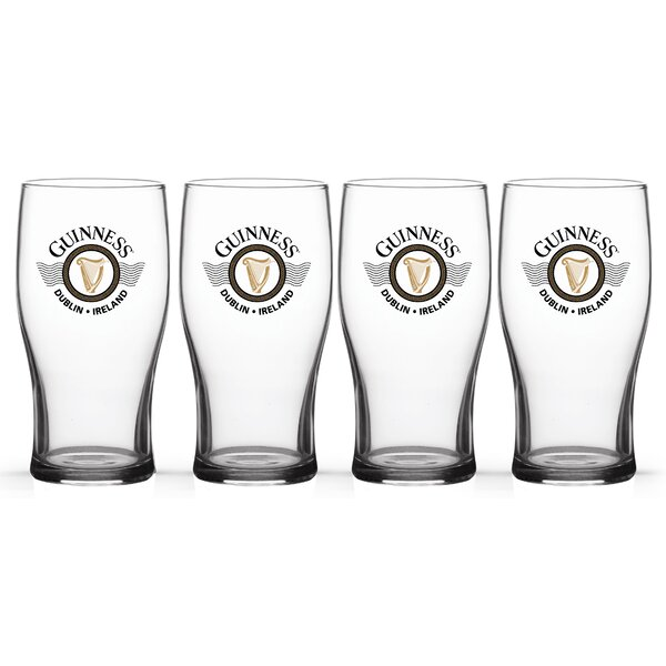 Guinness Wings Tulip 20 oz. Glass Pint Glasses (Set of 4) by PB