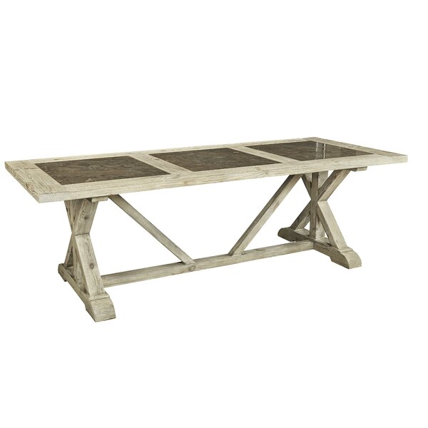 Zana Tri-Stone Solid Wood Dining Table by Gracie Oaks