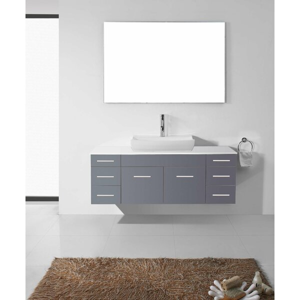 Virtu usa ultra modern series 56 single bathroom vanity set with white stone top and mirror for Ultra bathroom vanities burbank