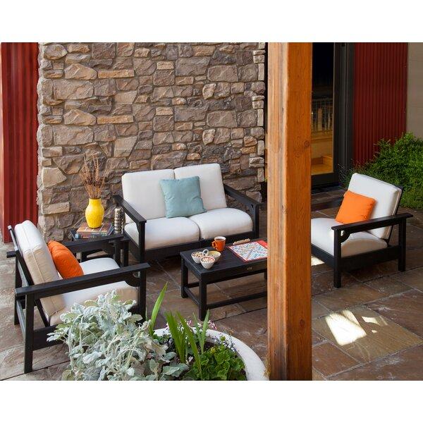 Club 5-Piece Set Sunbrella Sofa Seating Group with Cushions by POLYWOOD®