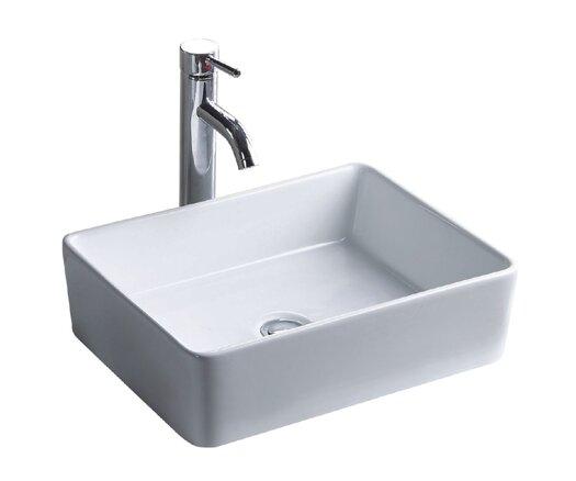 China Luxe Ceramic Rectangular Vessel Bathroom Sink by Wells Sinkware