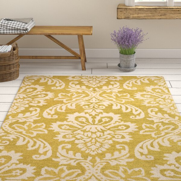 Kimberlin Hand-Tufted Gold/Off-White Area Rug by Ophelia & Co.