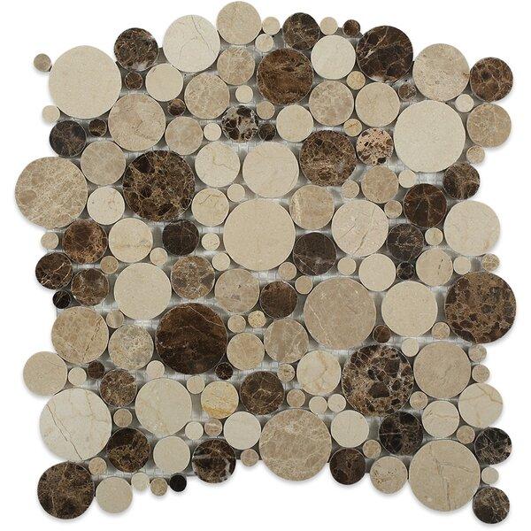 Orbit Circles Random Sized Marble Mosaic Tile in Woodland by Splashback Tile