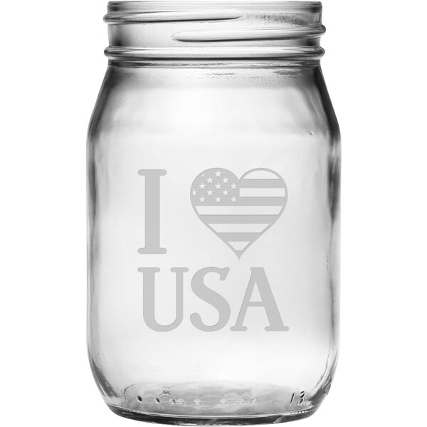 I Heart USA Drinking Jar (Set of 4) by Susquehanna Glass