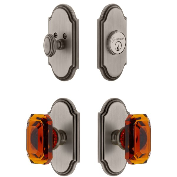 Arc Single Cylinder Knob Combo Pack with Amber Baguette Knob by Grandeur