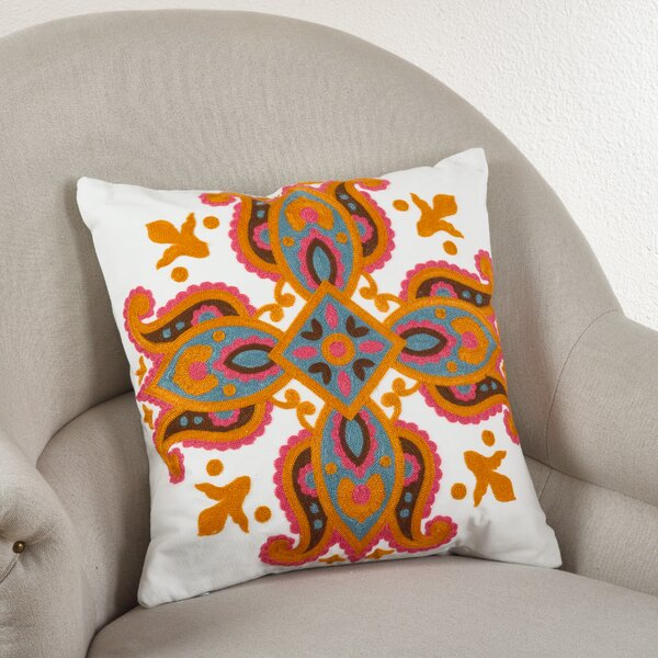 Crewel Throw Pillow by Saro