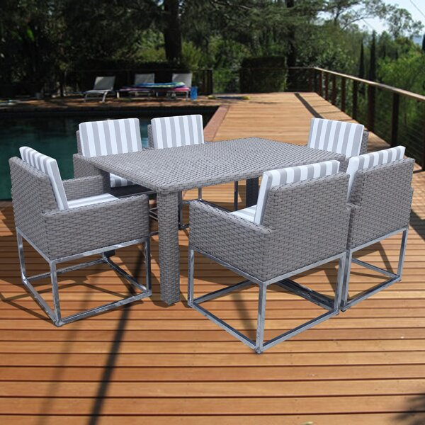 Leonore 7 Piece Dining Set with Cushions by Orren Ellis