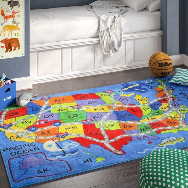 Corina Travel Map Area Rug by Zoomie Kids