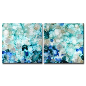 Mermaid Pearls I/II by Norman Wyatt, Jr. 2 Piece Painting Print on Wrapped Canvas Set by Ready2hangart