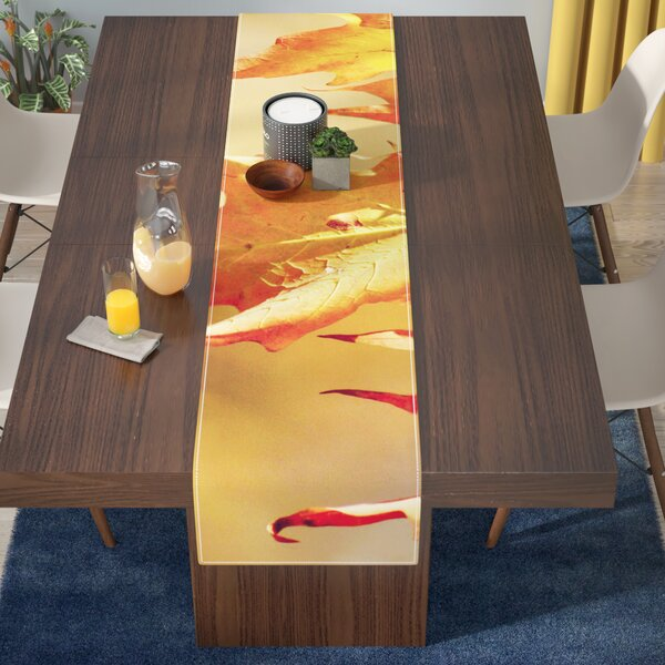 Angie Turner Autumn Leaves Vibrant Table Runner by East Urban Home