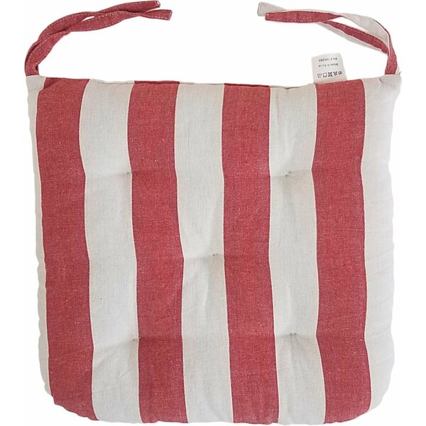 Melange 100% Cotton Round Square 16 x 16 Chair Cushions, Set of 12, Red Stripes (Set of 12)