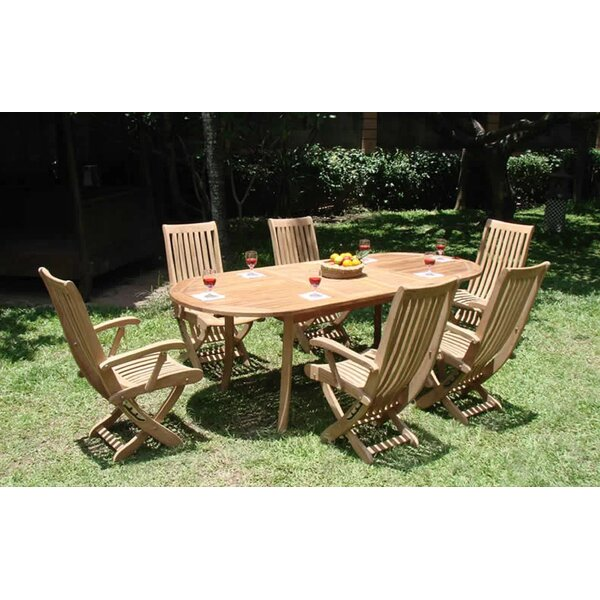 Rey Luxurious 7 Piece Teak Dining Set by Rosecliff Heights