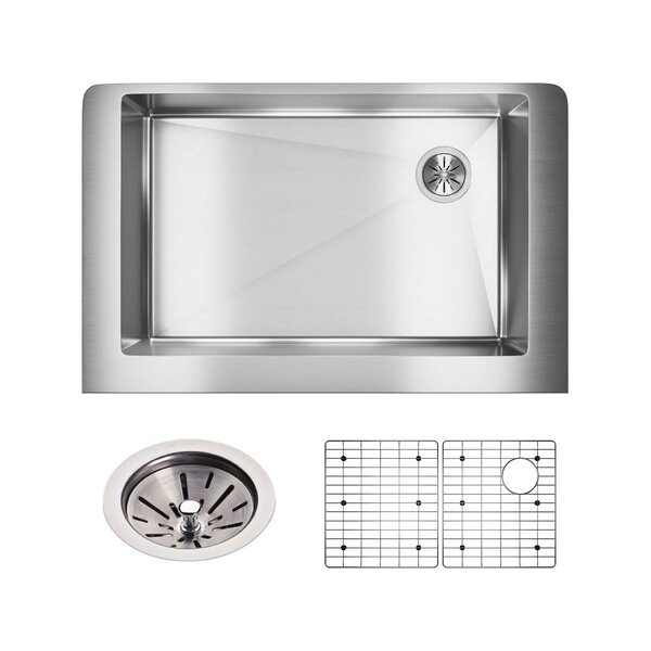 Crosstown 36 x 20 Kitchen Sink with Basin Rack and Basket Stainer by Elkay