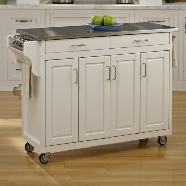 Regiene Kitchen Island with Stainless Steel Top by August Grove