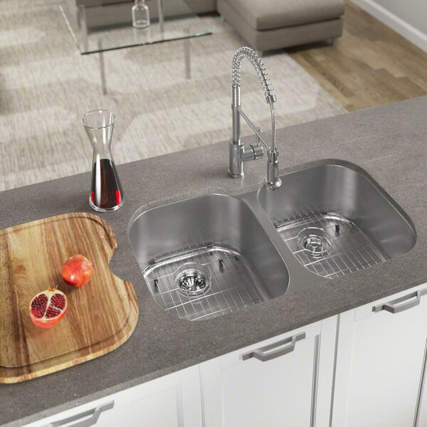 Stainless Steel 35 x 21 Double Basin Undermount Kitchen Sink by MR Direct
