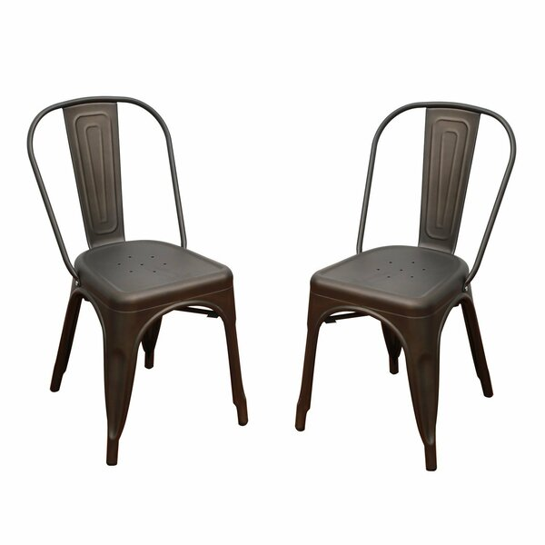 Adeco Stacking Patio Dining Chair (Set of 2) by Homebeez