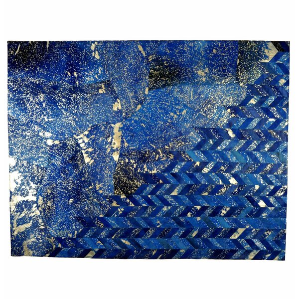 Abstract Handmade Cowhide Blue Area Rug