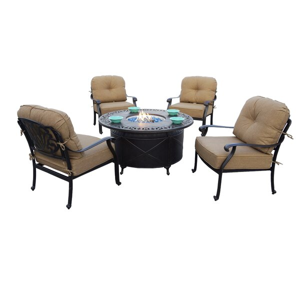 Bullington 5-Piece Fire Pit Chat Multiple Chairs Seating Group Set with Cushions and Pillows by Canora Grey