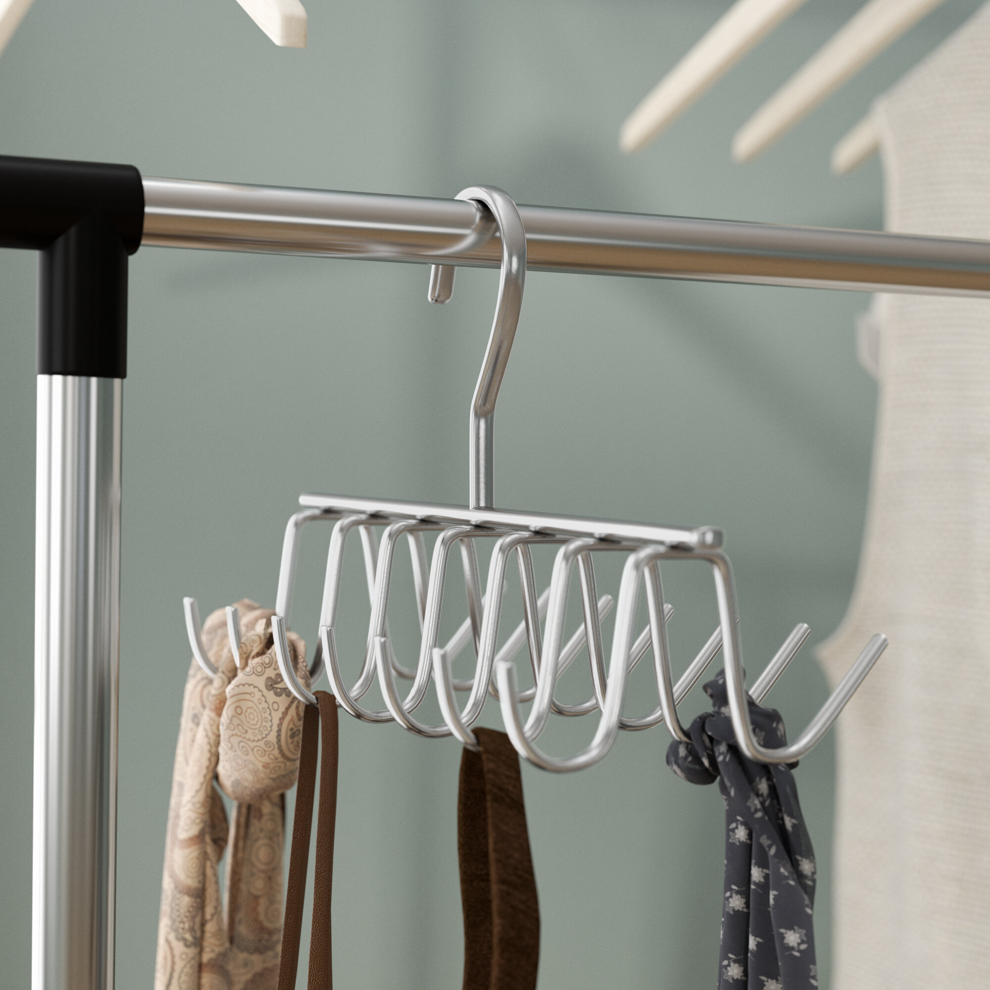 Tie Belt Scarf Hanger 20 Chrome Bars Hanging Rack Holder Storage Organiser Wood