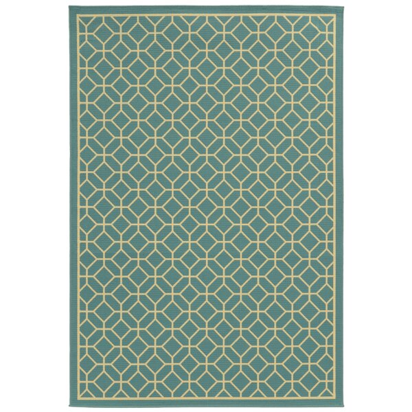 Liza Geometric Blue/Ivory Indoor/Outdoor Area Rug by Langley Street