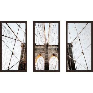 Brooklyn Bridge 3 Piece Framed Painting Print Set by Picture Perfect International