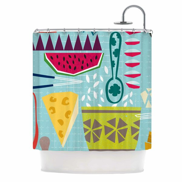 Agnes Schugardt Dinner Out Food Vintage Shower Curtain by East Urban Home