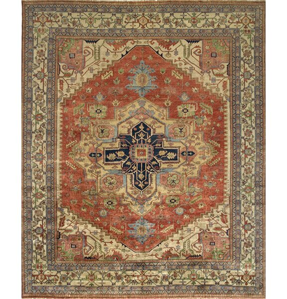 Serapi Handknotted Wool Rust/Ivory Area Rug by Pasargad