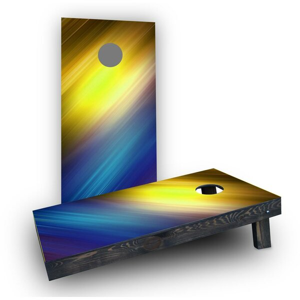 Yellow White and Blue Shine Cornhole Boards (Set of 2) by Custom Cornhole Boards