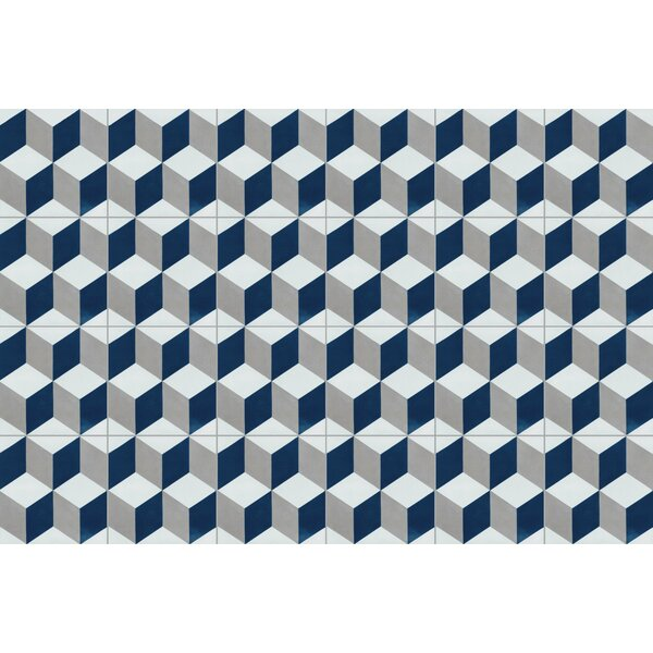 Cubes A Nautique 8 x 8 Cement Field Tile in Blue/Gray/White by Villa Lagoon Tile