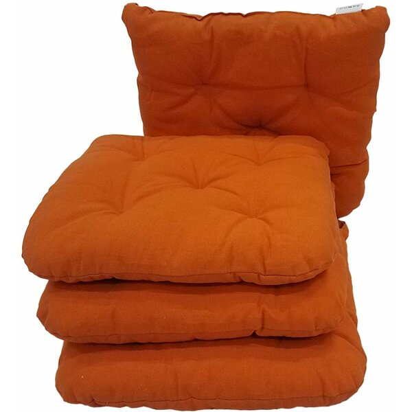 Melange 100% Cotton Round Square 16 x 16 Chair Cushions, Set of 4, Orange (Set of 4)