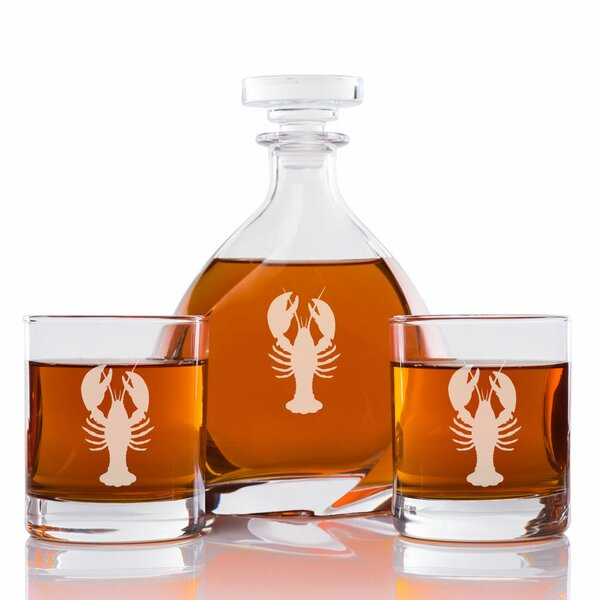 Affric Lobster Engraved 3 Piece Beverage Serving Set by Longshore Tides