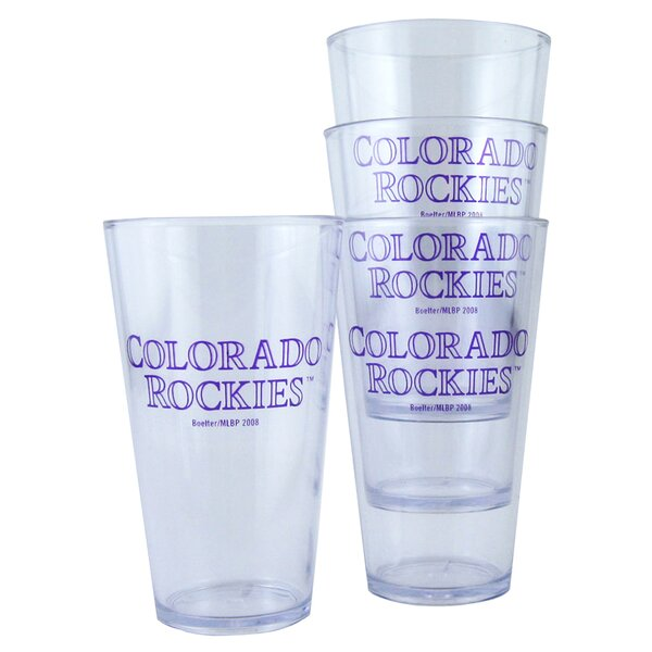 Colorado Rockies 4 Piece 16 oz. Plastic Every Day Glass Set by Boelter Brands