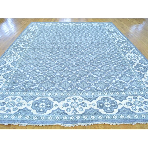 One-of-a-Kind Brianne All Over Design Turkish Knot Handwoven Blue Wool Area Rug by Isabelline