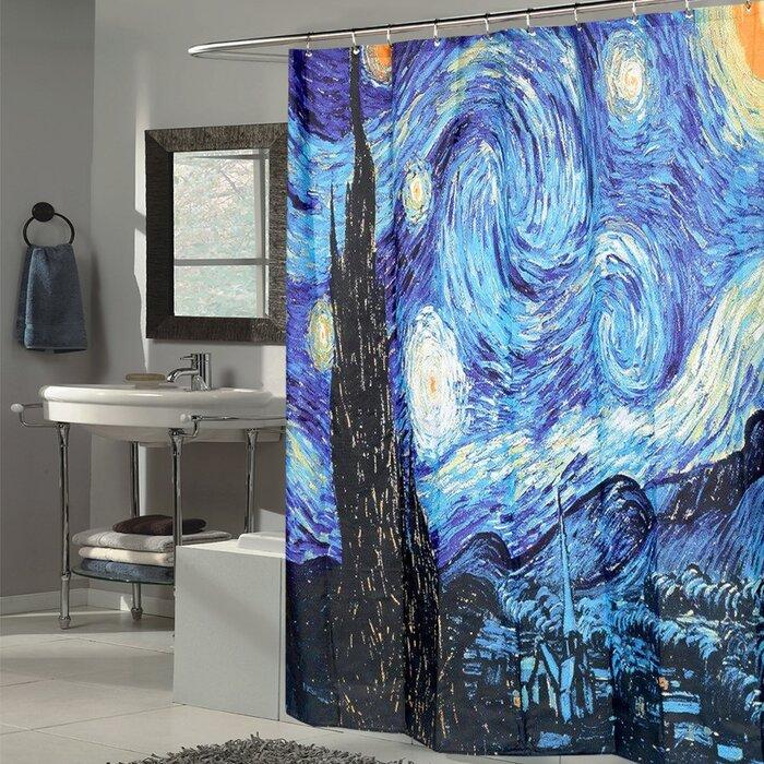 Van Gogh Starry Night Fabric Shower Curtain
